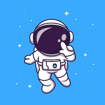 Cute astronaut flying in space cartoon icon illustration.