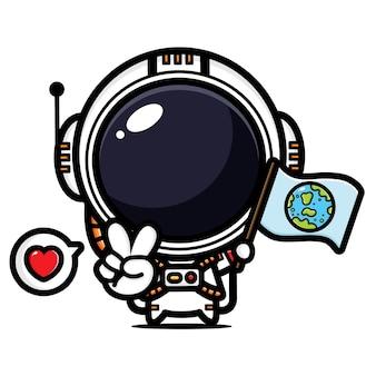 평화로운 포즈로 깃발을 비행하는 귀여운 우주 비행사
