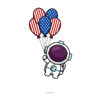 Cute astronaut flying with balloon celebrate america independence day cartoon icon vector illustration.design isolated on white. flat cartoon style.