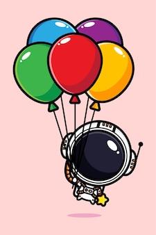 Милый космонавт летит с разноцветными воздушными шарами