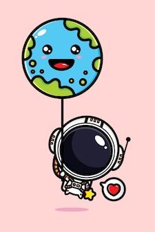 지구 풍선 비행 귀여운 우주 비행사 프리미엄 벡터