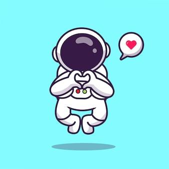 Симпатичные астронавт полет с любовью знак рука мультяшный значок иллюстрации. космический астронавт значок концепция изолированных премиум. плоский мультяшный стиль