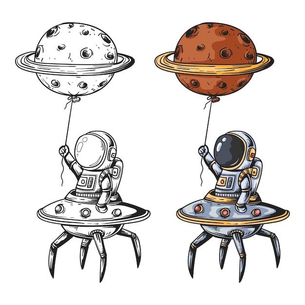 우주 만화에서 로봇 비행기와 행성 풍선과 함께 비행하는 귀여운 우주 비행사