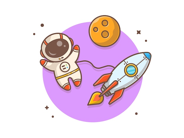 Cute astronaut flying with rocket and planet  illustration