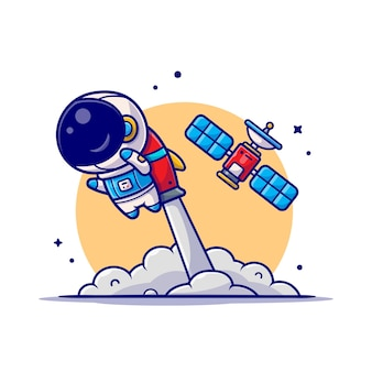 Cute astronaut flying with rocket and satellite cartoon icon illustration.