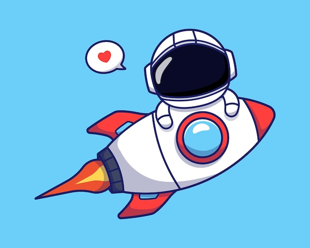 Cute astronaut flying with rocket