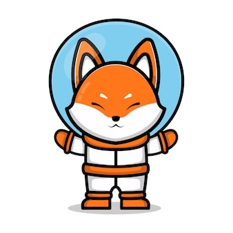 Cute astronaut fox cartoon animal space concept illustration