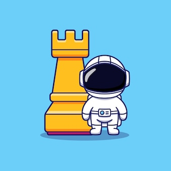 Cute astronaut in front of rook