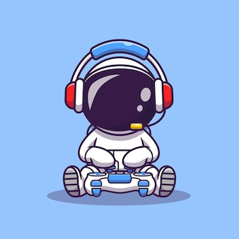 Cute astronaut gaming cartoon vector icon illustration. science technology icon