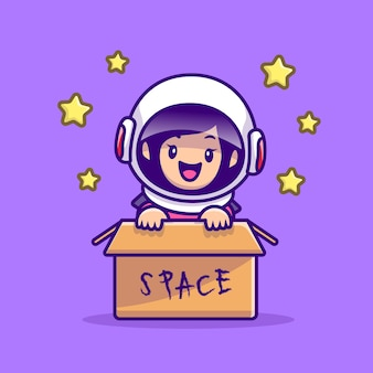 Cute astronaut girl in box cartoon illustration. people technology icon concept