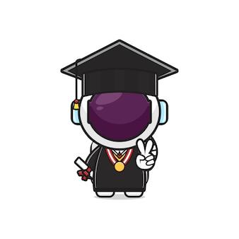 Cute astronaut on graduation day cartoon icon illustration. design isolated flat cartoon style