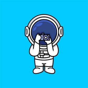 Cute astronaut hold digital camera cartoon illustration