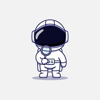 Милый космонавт держит увеличительное стекло