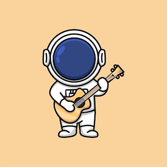 Cute astronaut holding acoustic guitar cartoon