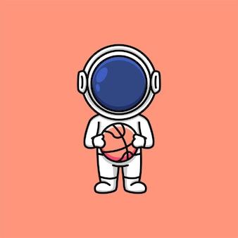 バスケットボールの漫画イラストを保持しているかわいい宇宙飛行士