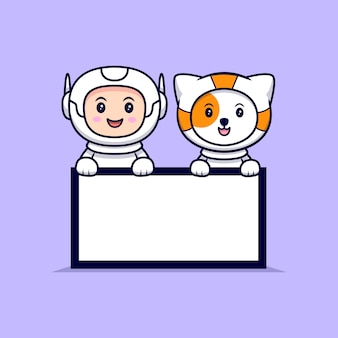 Cute astronaut holding  a blank text board cartoon   illustration. flat cartoon style