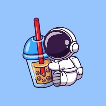 ボバミルクティー漫画ベクトルアイコンイラストを保持しているかわいい宇宙飛行士。宇宙食と飲み物のアイコン