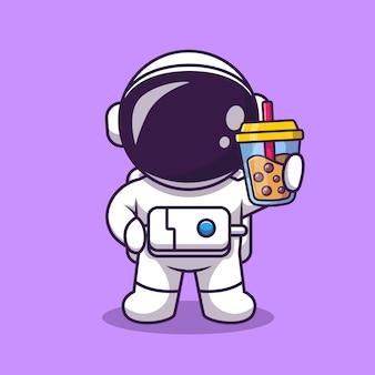 ボバミルクティー漫画ベクトルイラストを保持しているかわいい宇宙飛行士。科学の食べ物や飲み物の概念分離ベクトル。フラット漫画スタイル