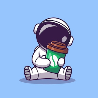 Cute astronaut holding coffee cup cartoon illustration. science food and drink icon concept. flat cartoon style