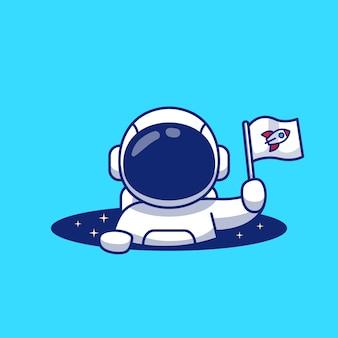 우주 비행사 만화 그림에서 플래그를 잡고 귀여운 우주 비행사.