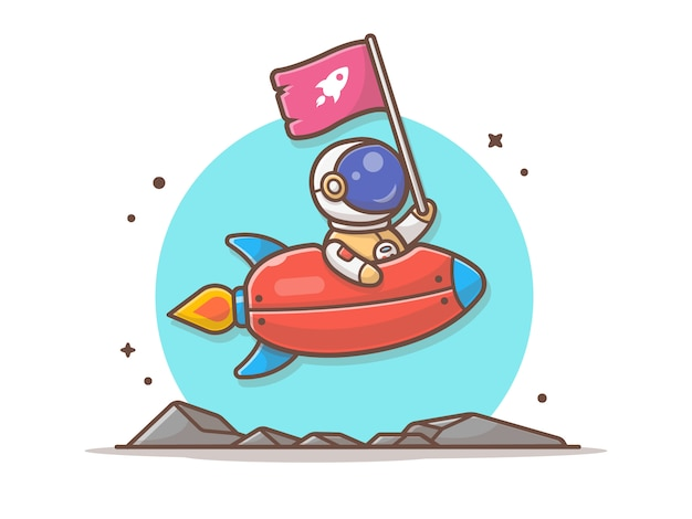 Cute astronaut holding flag with riding rocket in space  illustration