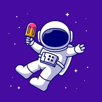 アイスクリームアイスキャンデー漫画アイコンイラストを保持しているかわいい宇宙飛行士。科学食品アイコン分離。フラット漫画スタイル