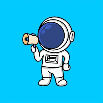 Cute astronaut holding loudspeaker calling for attention cartoon