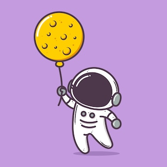 Cute astronaut holding moon balloon illustration