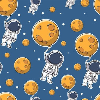 Cute astronaut holding moon balloon in the space seamless pattern
