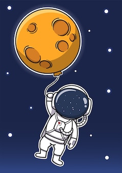 Cute astronaut holding moon balloon