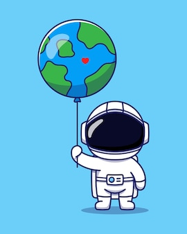 Cute astronaut holding planet earth balloon