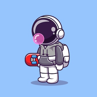 Cute astronaut holding skateboard cartoon vector icon illustration. science sport icon