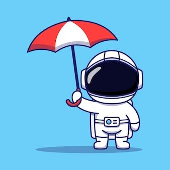 Cute astronaut holding umbrella
