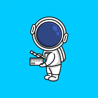 Cute astronaut holding up a clapboard movie film cartoon