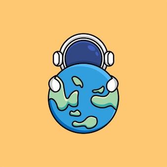 かわいい宇宙飛行士が地球の漫画イラストを抱きしめます