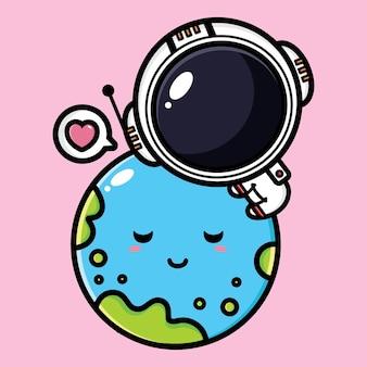 귀여운 지구를 포옹하는 귀여운 우주 비행사