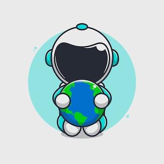 地球のイラストを抱き締めるかわいい宇宙飛行士