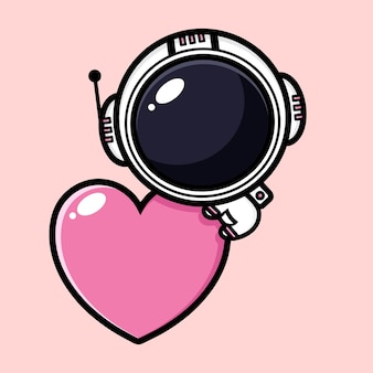 Милый космонавт обнимает сердце любви