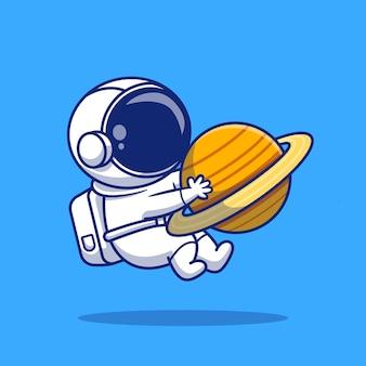 かわいい宇宙飛行士は、惑星漫画アイコンイラストを抱き締めます。分離されたスペースアイコンコンセプト。フラット漫画スタイル