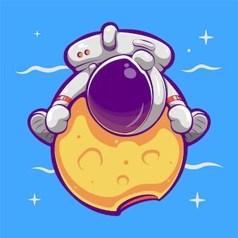 Cute astronaut hugging planet cartoon illustration premium vector