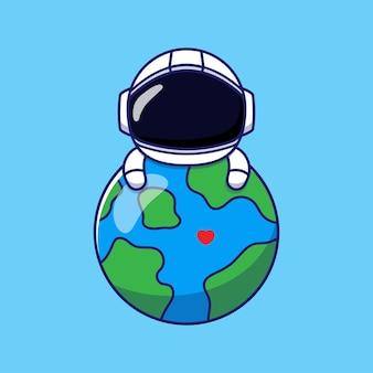 惑星地球を抱き締めるかわいい宇宙飛行士