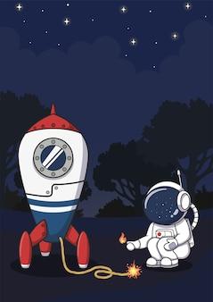 ロケットに点火するかわいい宇宙飛行士