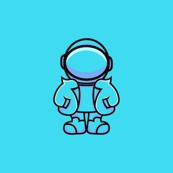 モダンなドレスの漫画スタイルのかわいい宇宙飛行士のイラスト