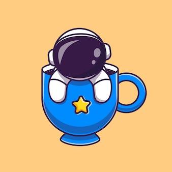 Милый астронавт в чашке кофе мультфильм вектор значок иллюстрации. концепция значок напитка науки изолированные premium векторы. плоский мультяшном стиле