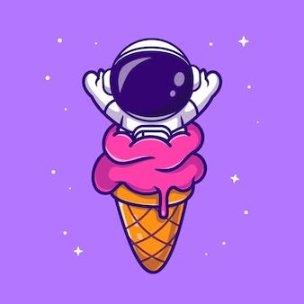 アイスクリームコーン漫画ベクトルアイコンイラストでかわいい宇宙飛行士。科学食品アイコンコンセプト分離プレミアムベクトル。フラット漫画スタイル