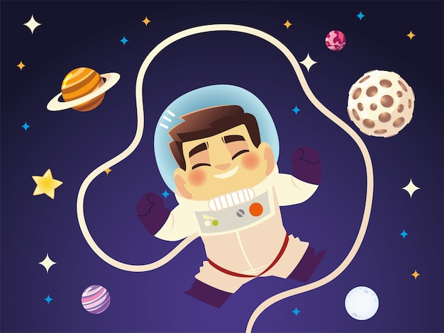 Милый космонавт в космосе с иллюстрацией шаржа планет галактики
