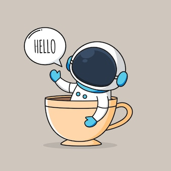 Cute astronaut inside a cup of coffee