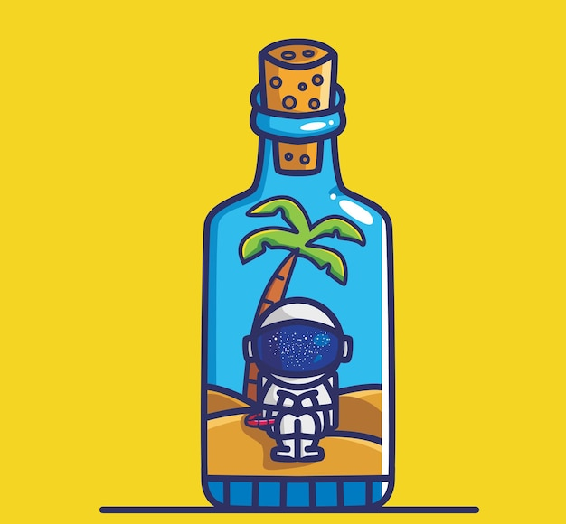 Милый космонавт внутри бутылки. мультфильм путешествия отпуск отпуск летние концепции изолированные иллюстрации. плоский стиль, подходящий для дизайна стикеров, иконок премиум-логотипов. талисман