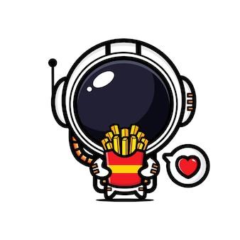 귀여운 우주 비행사는 감자 튀김을 즐기고있다