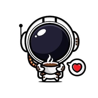 귀여운 우주 비행사는 뜨거운 커피를 즐기고있다 프리미엄 벡터